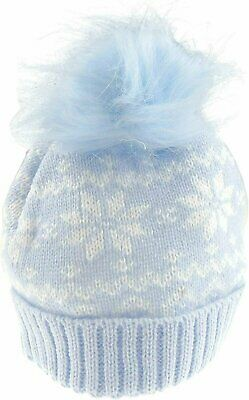 Baby Boys Winter Knit Faux Fur Bobble Baby Hat Snowflakes (0-24 Months, Blue)