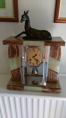 Art Deco four glass eight day Marble mantel clock