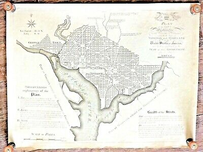 Antique 1790 PLAN for CITY of WASHINGTON Historical Map RAISED INK ENGRAVING