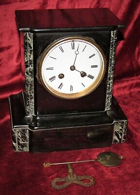 Very Nice French 8 Day Bell Striking Marble Mantle Clock