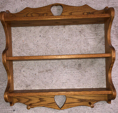 """Solid Oak Wood Shelf W/ Pegs Handmade Hearts Cut Out Country Home 26"""" X 25"""""""