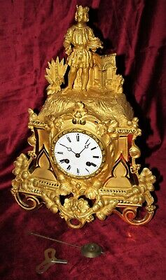 Very Fine And Early French Ormolu Mantle Clock With Figure