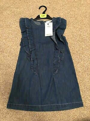 M&S Demin Dress 3-4 Years New With Tags Ruffle Detail