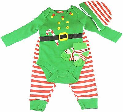 Baby Cotton All In One First Christmas Green Santas Elf 3 Pcs Set Long Sleeve