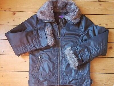 Girl's jacket Marks and Spencer faux fur collar/cuffs age 13-14yrs