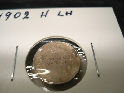 1902 H - large H - Canada 5 cent - Silver Canadian nickel