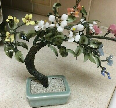 Chinese Oriental Asia Bonsai Tree Jade Agate Glass Signed Floral Piece