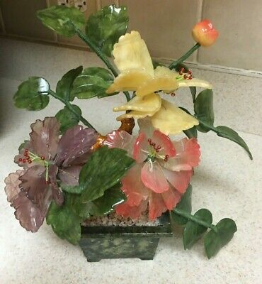 Chinese Oriental Asia Bonsai Tree Jade Agate Glass Floral Piece