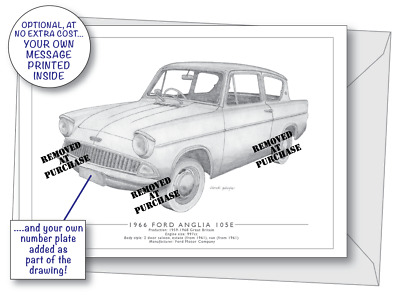 Ford Anglia Policeman Football Heartbeat 1960s Blank Birthday Fathers Day Card