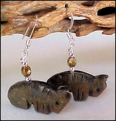 Bronzite Carved Buffalo - Bison - Fetish Animal Earrings 1018B1