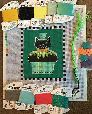 Shelly Needlepoint Canvas Cupcake Cat With Threads And Embellishments