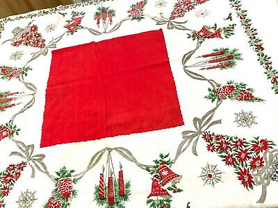 Vintage1960s Christmas Square Tablecloth MCM Red Green Bells Candles AS IS