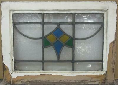 "OLD ENGLISH LEADED STAINED GLASS WINDOW Stunning Geometric Sweep 20.5"" x 15"""