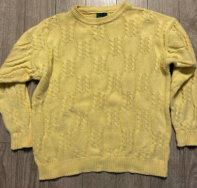 Izod Yellow Cable Knit Cotton Sweater Gator Alligator Canary Yellow Mens L Large