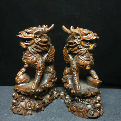 "4"" Chinese antiques Boxwood Hand-carved One pair of lion statues"
