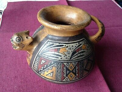 Antique  Native American Animal Themed Painted Pottery