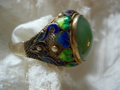 Antique Silver Chinese Export Cloisonne Enamel Ring Jade Stone Adjustable Sz 7