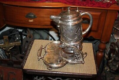 Antique Wicox Silverplate Victorian Tipping Water Tea Pitcher With Bottom Base