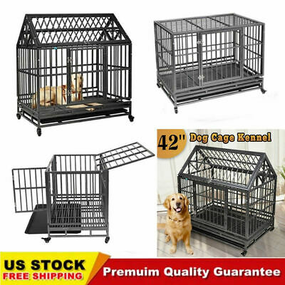 """Large Heavy Duty Pet Dog Cage Crate Kennel Outdoor Metal Playpen w/Wheel 37""""/42"""""""