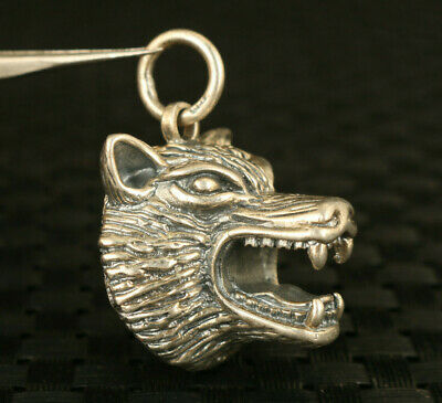 S925 silver hand carved bear head statue pendant netsuke key ring decorate gift