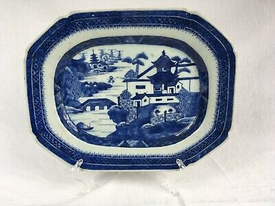 """Antique Early 19th Century Canton Blue Export China Plate 9-3/4""""x12-3/8"""""""