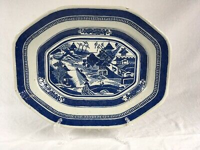 """Antique Early 19th Century Canton Blue Export China Plate 11""""x 14"""" X 1-3/4"""""""