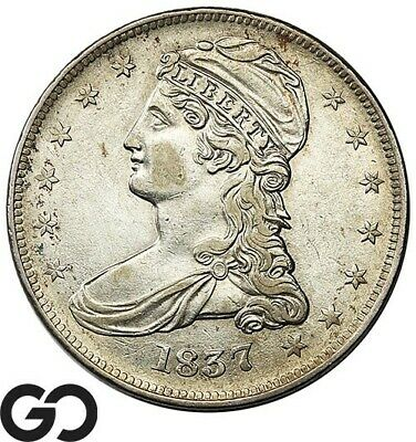 1837 Capped Bust Half Dollar, Reeded Edge, Very Choice AU++ Silver Half