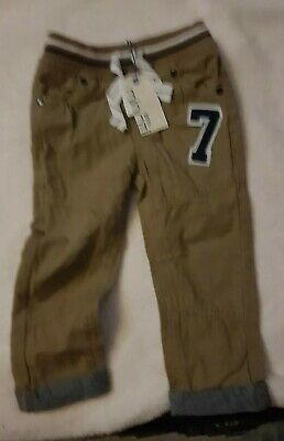 Minoti Boys Chino Jeans Trousers Pants Brown 1.5 2 Years Elastic Waist New Tags