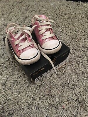 Girls Pink Glitter Converse Size 7 Infant With Box