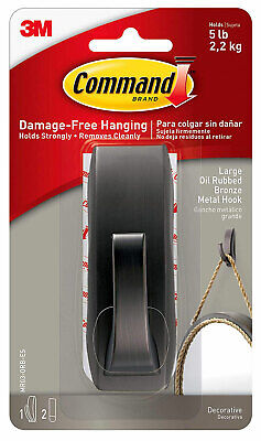 3M Command Large Bronze Oil Rubbed Bronze Metal Hook Damage Free Hanging