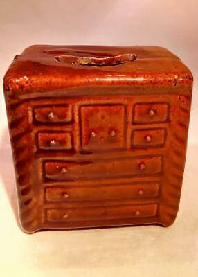 Antique Novelty Pottery Chest of Drawers Money Box Treacle Glazed c 1870