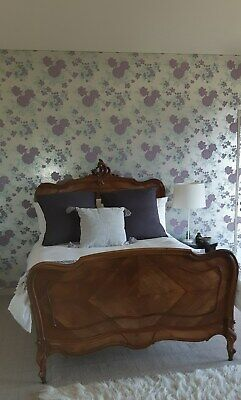 Antique French walnut double bed with ensemble mattress