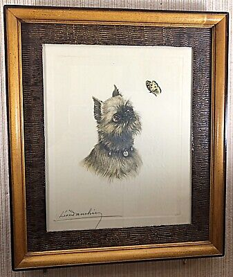 LEON DANCHIN LT ED ETCHING OF A BRUSSELS GRIFFON DOG WITH BUTTERFLY, 1930's