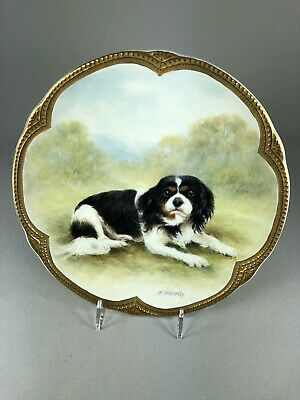 Milwyn Holloway Vintage Hand Painted Plate Of A Cavalier King Charles Spaniel #1