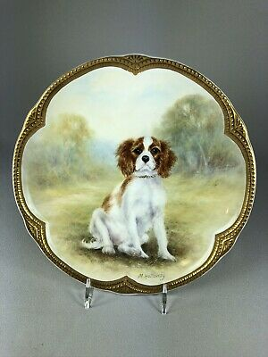Milwyn Holloway Vintage Hand Painted Plate Of A Cavalier King Charles Spaniel #2
