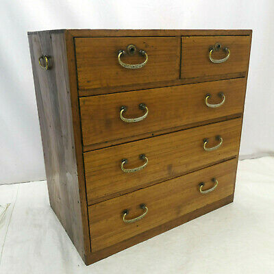 Antique Sugi Wood Small Tansu Chest Japanese Drawers Circa 1920s #258