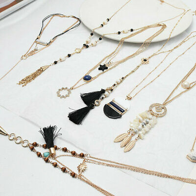 Gold Plated White Turquoise Bead Tassel  Arrow Pendant Statement necklace New