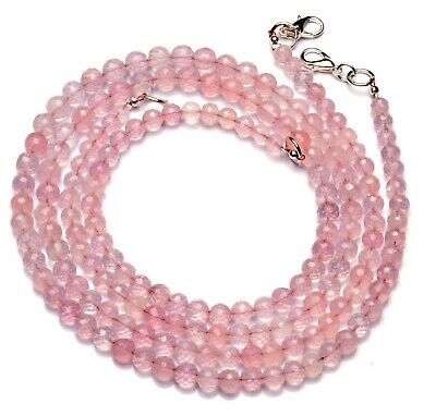 Natural Gemstone Rose Quartz 5 to 6MM Size Faceted Round Beads Necklace 17.5""