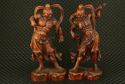Big blessing chinese old boxwood evil person buddha statue table home decoration