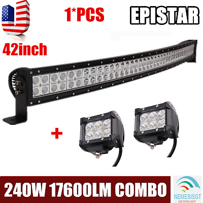 "42inch Curved 240W Led Light Bar Offroad for Jeep Truck Boat ATV +2X 18W 4"" Pods"