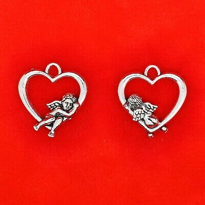 10 x Tibetan Silver 3D Cupid Sitting On a Love Heat Loveheart Valentine Charms