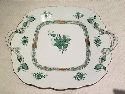 Herend Chinese Bouquet Green Square Cake Plate with Handles 430 Serving Plate