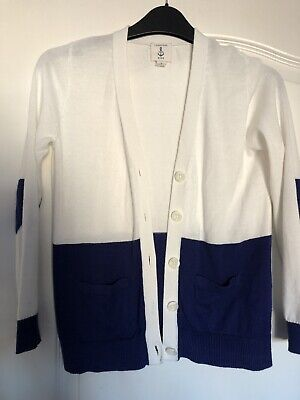 Lands End White And Blue Cardigan Age 7-8 Years