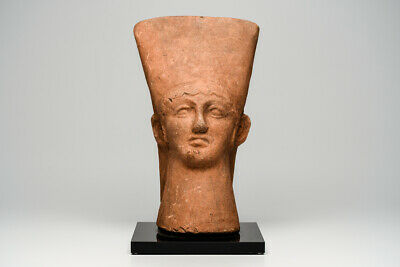 Ancient Etruscan Large Pottery Youthful Male Head Ca. 7th-5th century B.C.