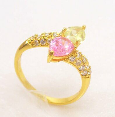 Women 24K Yellow Gold Plated Pink CZ Cubic Zirconia Engagement Ring Size O UK