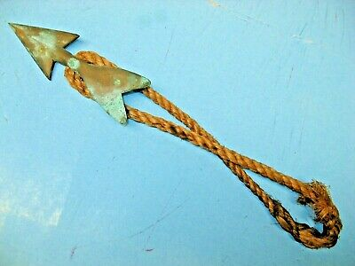 Antique Bronze Maritime Harpoon Tip with Rope and Green Verdigris