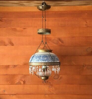 Antique W.B.G. Corporation Hanging Oil Chandelier Lamp with Shade and Prisms