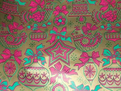 VTG CHRISTMAS WRAPPING PAPER GIFT WRAP PINK GOLD GREEN BELLS ORNATE SCROLL 1960