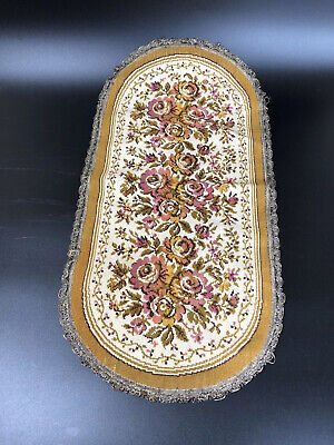 VINTAGE BELGIUM TAPESTRY Pink Roses Floral Gold Edge NEEDLEPOINT Table RUNNER