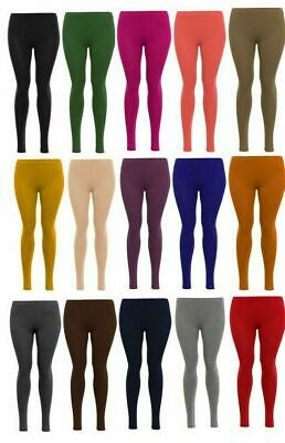 New Girls Kids Childrens Plain Full Length Leggings Age 1-13